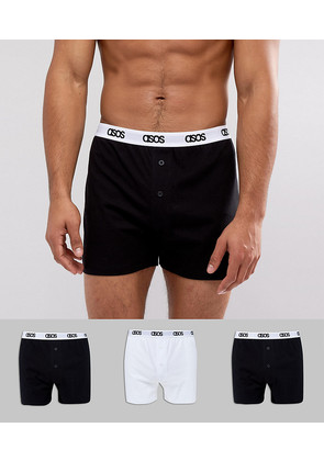 ASOS Jersey Boxers In Monochrome With Branded Waistband 3 Pack - Multi