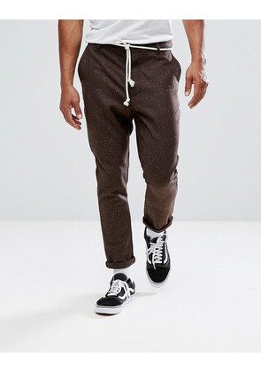 ASOS Tapered Trousers In Brown Nepp Fabric - Brown