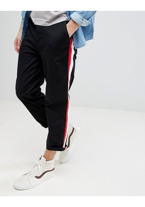ASOS Skater Crop Trousers In Black With Double Side Stripe - Black