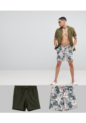 ASOS DESIGN Swimshorts In Floral And Khaki Mid Length 2 Pack - Multi