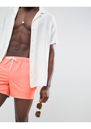 ASOS Swim Shorts In Bright Orange Short Length - Orange
