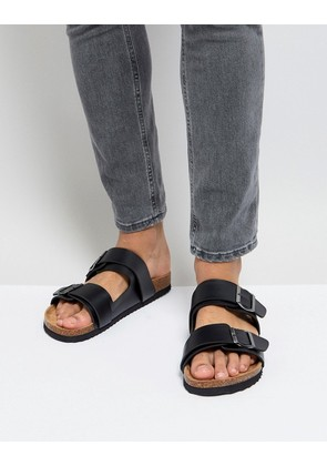 Brave Soul Double Strap Sandals In Black - Black