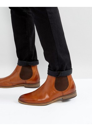 ASOS Chelsea Boots In Tan Leather with Natural Sole - Tan