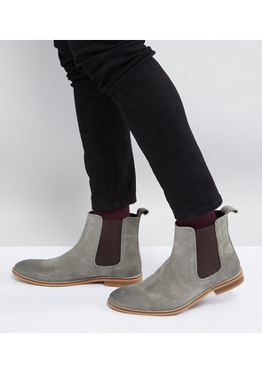ASOS Wide Fit Chelsea Boots in Grey Suede - Grey