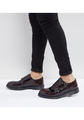 ASOS Wide Fit Monk Shoes In Burgundy Leather - Burgundy