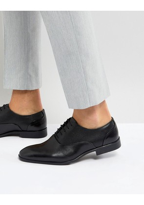 ASOS Oxford Shoes In Black Leather With Emboss Panel - Black