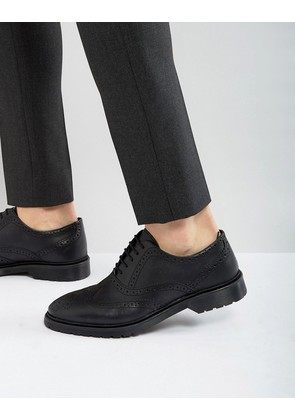 ASOS Brogue Shoes In Black Leather With Ribbed Sole - Black