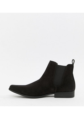 ASOS Wide Fit Chelsea Boots in Black Faux Suede - Black