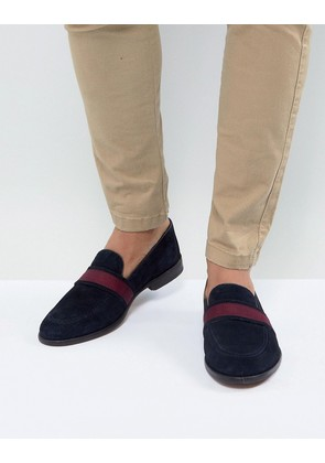 ASOS Loafers In Navy Suede With Tape Detail - Navy