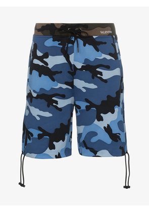 Valentino camouflage print cotton blend shorts