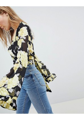 ASOS DESIGN Wrap Blouse With Kimono Sleeve In Rose Floral - Multi