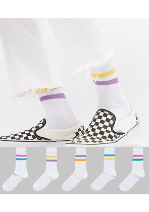 ASOS Sports Style Socks In Summer Weight With 2 Colour Stripes 5 Pack - White