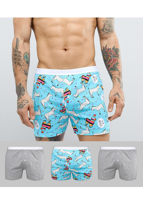 ASOS Jersey Boxers In Donkey Print 3 Pack - Multi