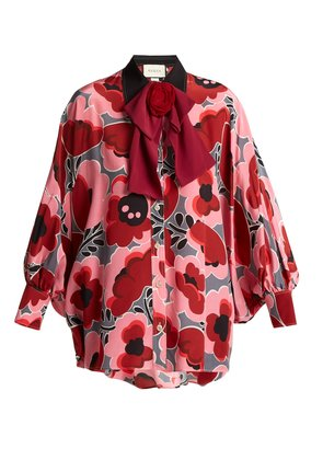Poppy-print silk blouse