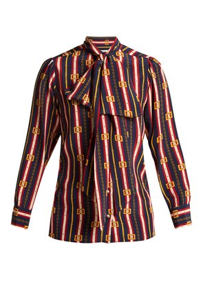 Chain-print silk shirt