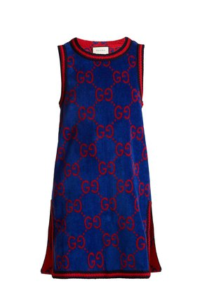 GG-jacquard cotton-towelling dress