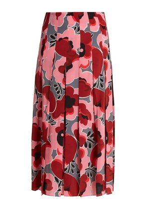Poppy-print pleated silk crepe de Chine skirt