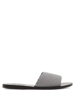 Taygete gingham leather slides