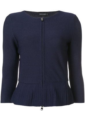 Emporio Armani zip-up peplum cardigan - Blue