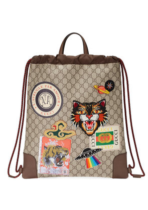 Gucci Gucci Courrier soft GG Supreme drawstring backpack - Nude &