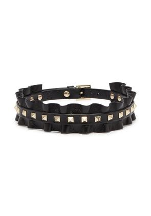 'Rockstud' ruffle leather choker