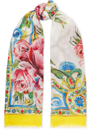 Dolce & Gabbana - Maiolica Printed Modal And Cashmere-blend Scarf - Yellow