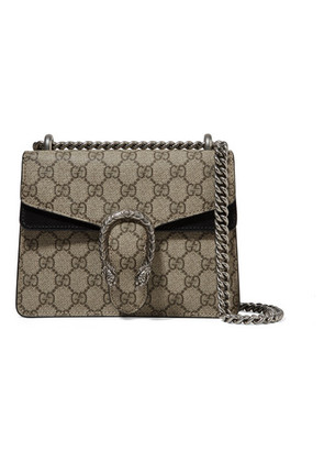 Gucci - Dionysus Mini Coated-canvas And Suede Shoulder Bag - Beige