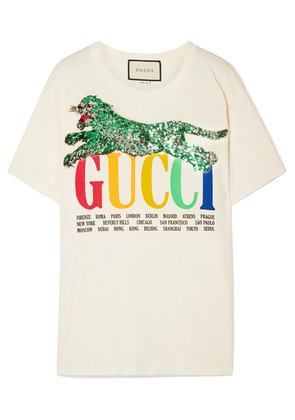 Gucci - Oversized Embellished Printed Cotton-jersey T-shirt - Ivory