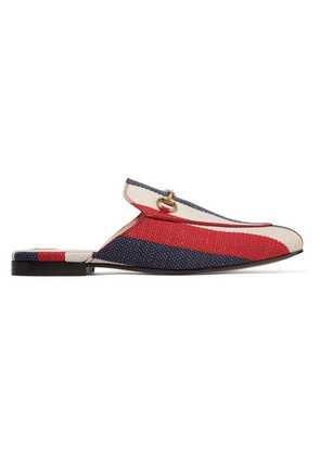 Gucci - Princetown Horsebit-detailed Striped Canvas Slippers - Red