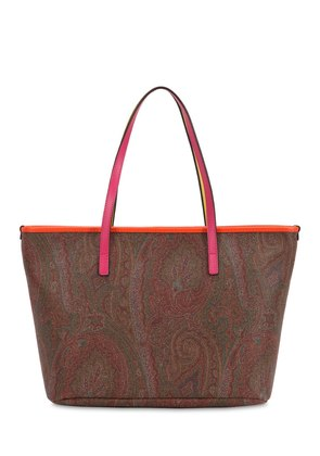 PAISLEY PRINTED FAUX LEATHER TOTE BAG