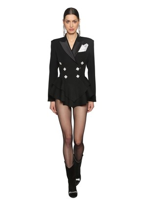 COOL WOOL DOUBLE BREASTED PEPLUM BLAZER