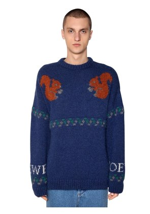 SQUIRREL JACQUARD WOOL BLEND SWEATER