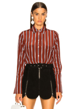 FRAME Long Cuff PJ Top in Brown,Stripes