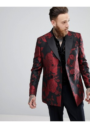 ASOS Skinny Double Breasted Blazer In Red Floral Jacquard - Black