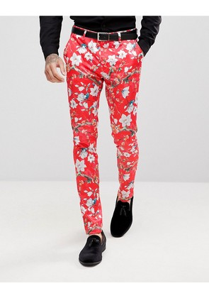 ASOS Super Skinny Suit Trousers With Red Peacock Print - Red