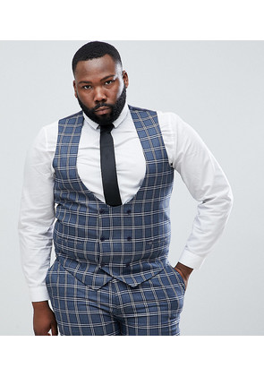 ASOS DESIGN Plus Wedding Skinny Suit Waistcoat In Blue And White Check - Blue