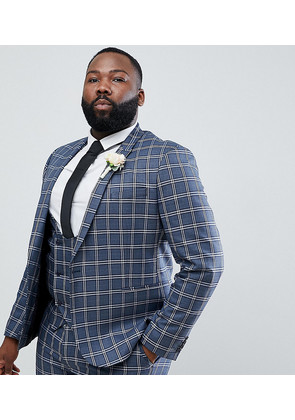ASOS DESIGN Plus Wedding Skinny Suit Jacket In Blue And White Check - Blue