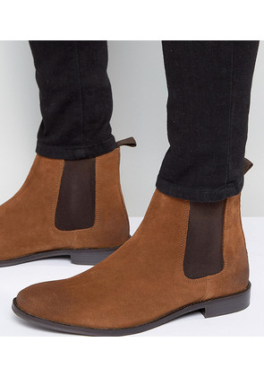 ASOS Wide Fit Chelsea Boots in Tan Suede - Tan