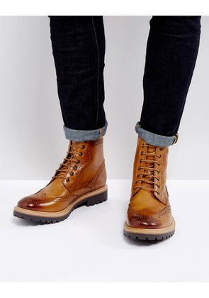 ASOS Lace Up Brogue Boots In Tan Leather With Heavy Sole - Tan