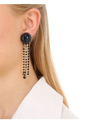 DOT WITH CRYSTAL FRINGE CLIP-ON EARRINGS