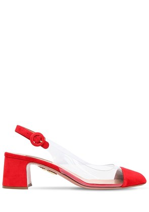 50MM OPTIC PLEXI & SUEDE SLINGBACK PUMPS