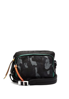 Camouflage-print nylon shoulder bag