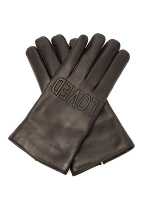 Gucci Loved-embroidered leather gloves