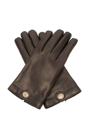 Logo-plaque leather gloves
