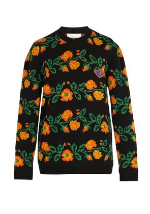 Floral crew-neck logo-patch sweater