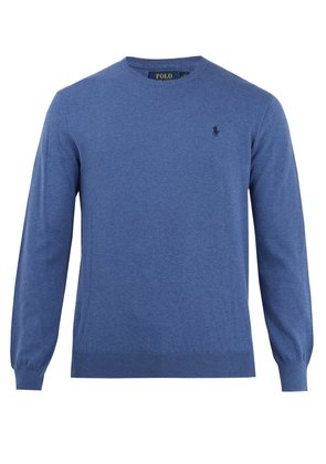 Crew-neck logo-embroidered cotton sweater