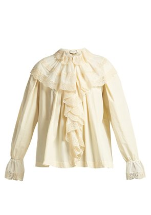 Macramé lace-trimmed cotton blouse