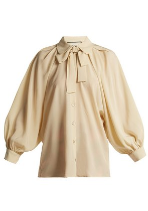 Puff-sleeve silk crepe de Chine blouse