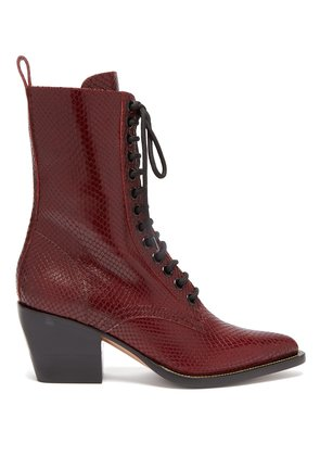 Snakeskin-effect lace-up leather boots
