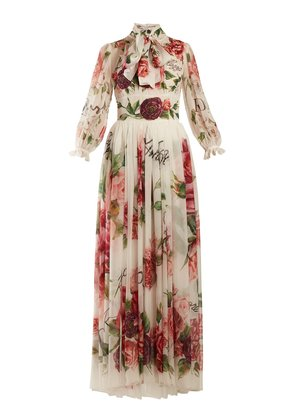 Peony and rose-print chiffon gown
